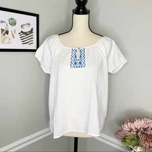 UNIVERSAL THREAD White Embroidered Puff sleeve top